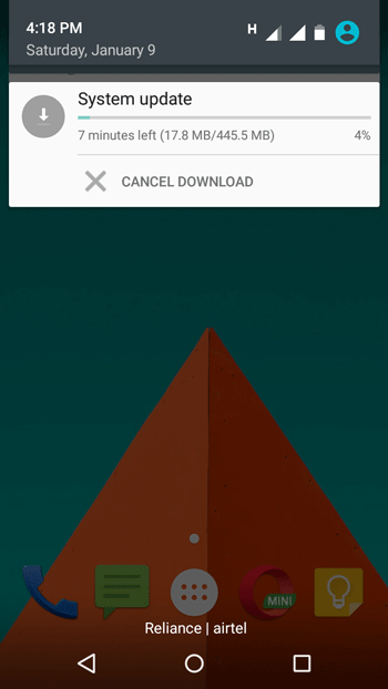 android marshmallow installation status in moto g