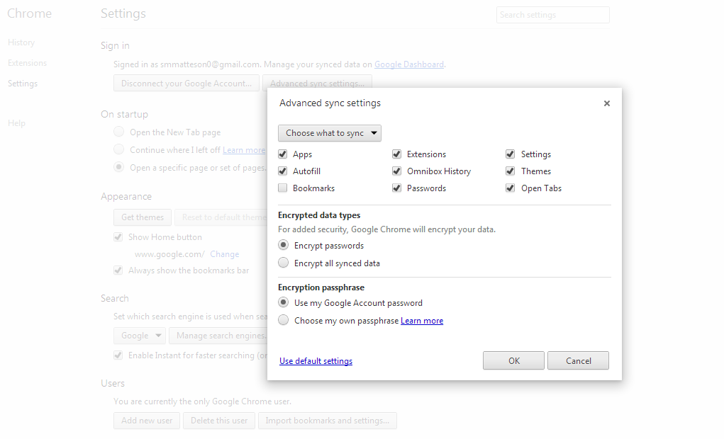 Sync Settings - Google Chrome