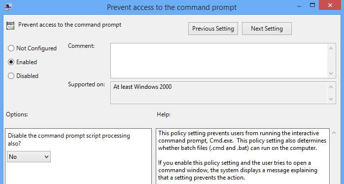 gpedit command prompt disable