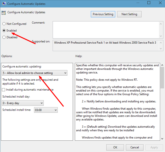 configure update setting windows 10