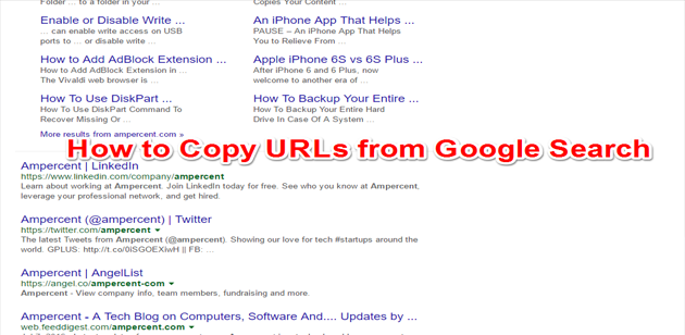 copy Urls from google search feat