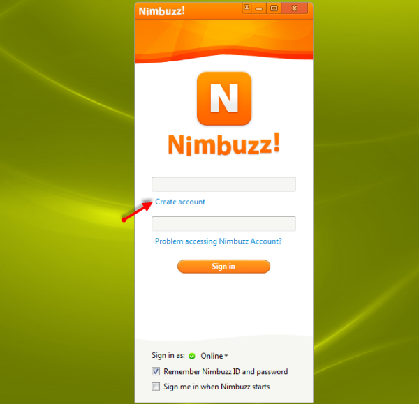 create an account - Nimbuzz - all in one chat messenger for pc