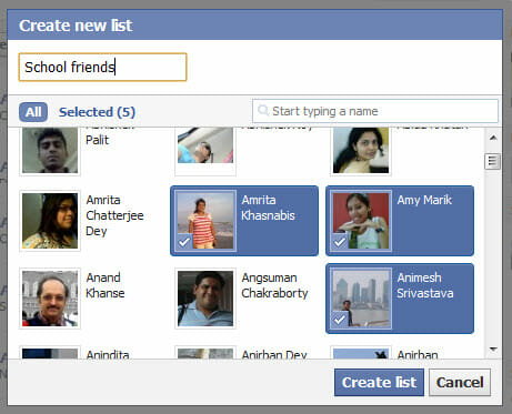 Create Facebook friend lists