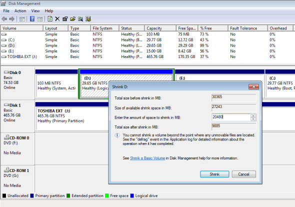 Create New partition in Windows Disk management console