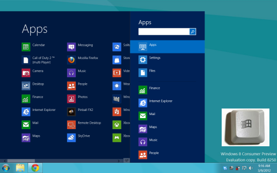 Default Start Menu of Windows 8