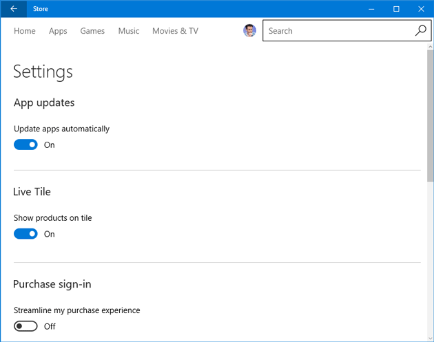 disable automatic windows store apps update
