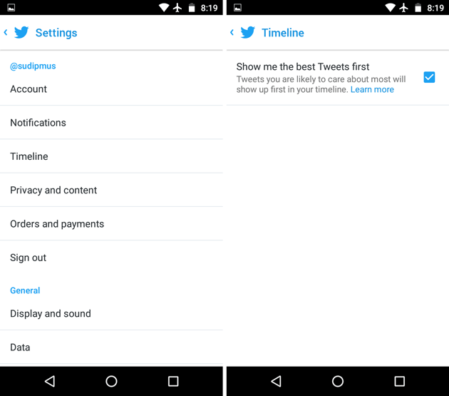 disable best tweets first on Android