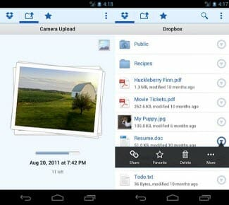 Auto upload files to Dropbox from Android