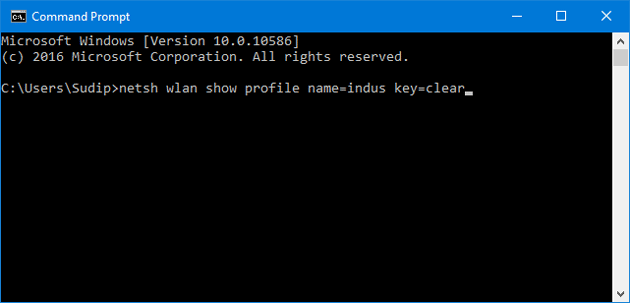 enter command to check saved wifi password in windows