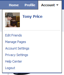 Account Dropdown Menu on Facebook