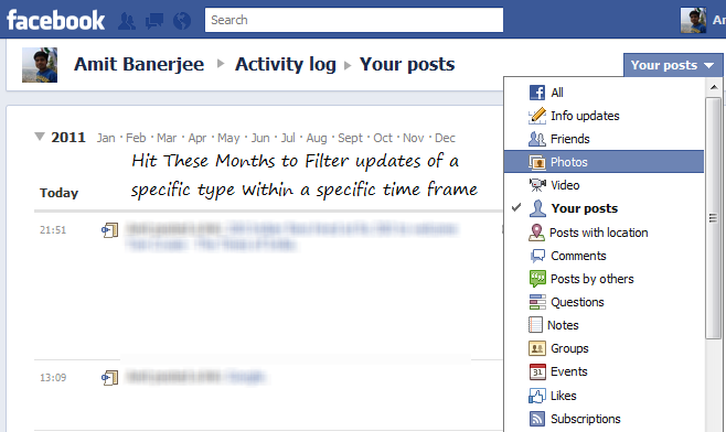 Filter Updates on Your Facebook profile