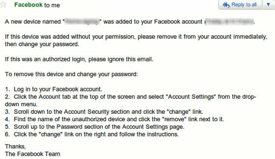 Facebook Login Alert Email