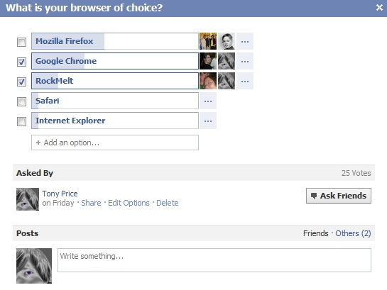 questions, browsers, facebook, poll