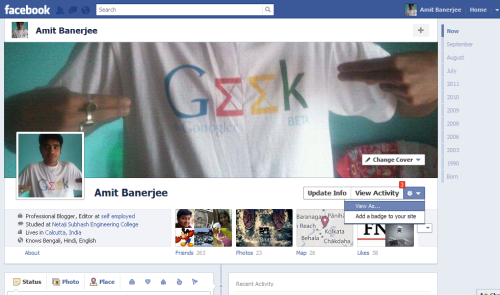 Example of Geeky Facebook timeline