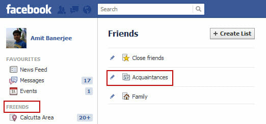 facebook acquaintances list