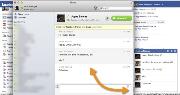 Get Facebook Messages In Skype
