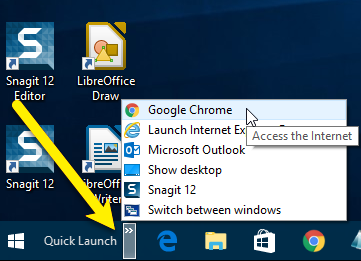 get quick launch bar on windows 10