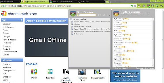 Google Chrome Session Manager extension