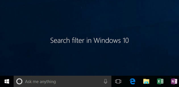 how to use search filter in windows 10