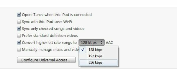 iTunes Song Bit Rate Options for Conversion
