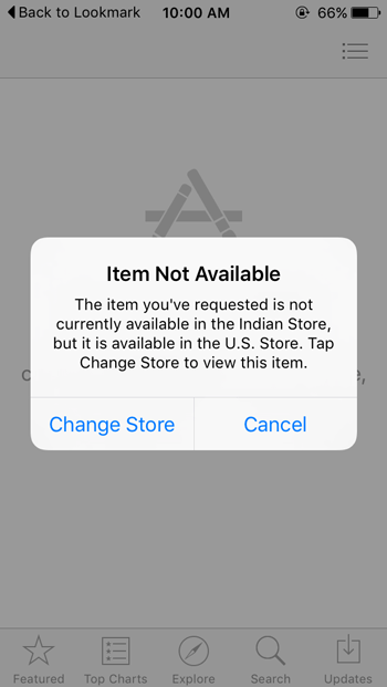 item not available in particular app store for iOS