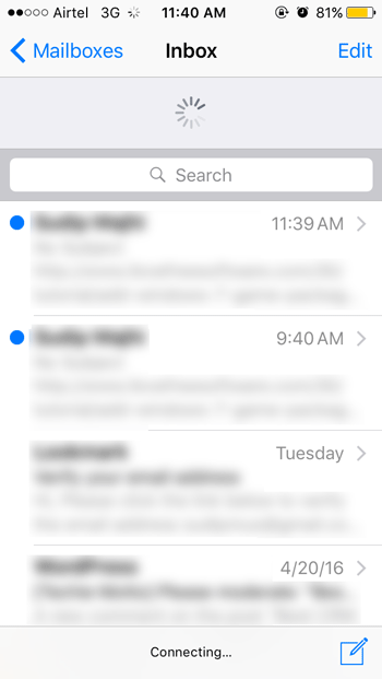 mail app is loading but not showing any new email in iOS
