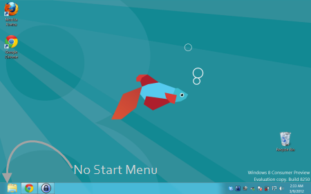 No Start menu in Windows 8 Desktop