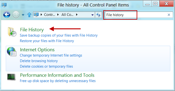 Open File History From Windows Control Panel