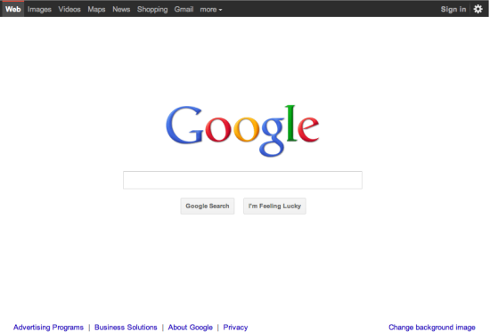 Google's new design black navigation bar