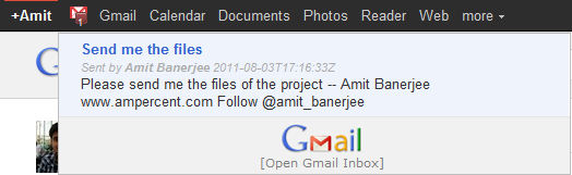 Check Gmail emails from Google Plus