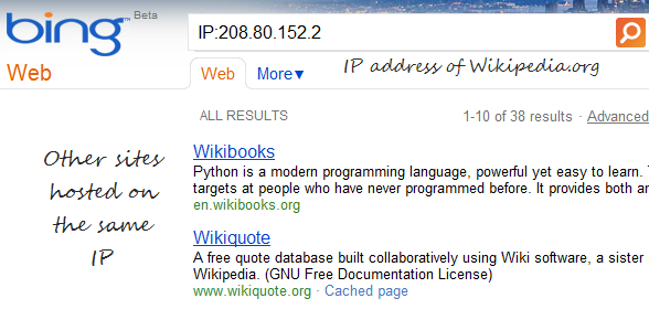 Bing IP Lookup - Find All websites on the same IP address