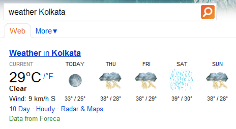 Check weather reports of a city or location with Bing search