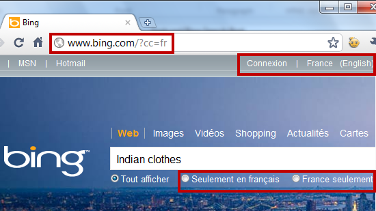 See location specific search results on Bing.com