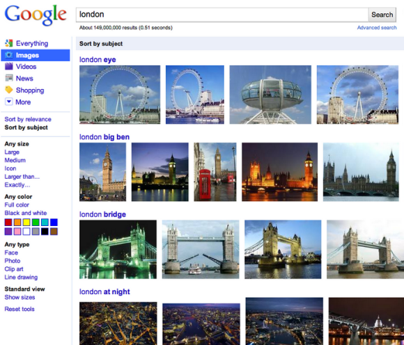 Finding related images in Google Images