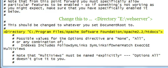 configure the httpd file of apache