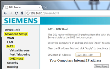 enrter dmz address in router for port forwarding