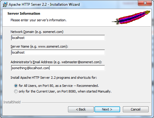 Installing Apache for Home web server in Windows