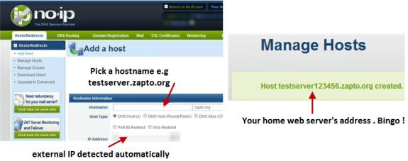 Map domain name with external ip address
