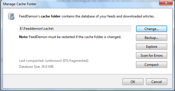 Manage Feedmon cache folder - FeedDemon portable