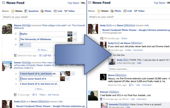 Remove Facebook questions in Google Chrome