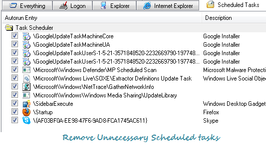 Remove unnecessary scheduled tasks from Windows startup