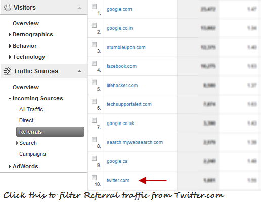 Filter the referral traffic in Google Analytics
