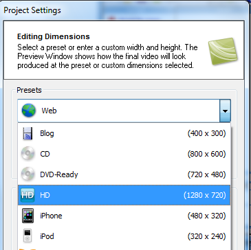 Camtasia HD recording settings