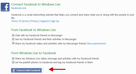 Connect Facebook With Windows Live account