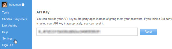 Copy Bitly API key