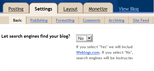 Create Blogger blog and restrict search engines