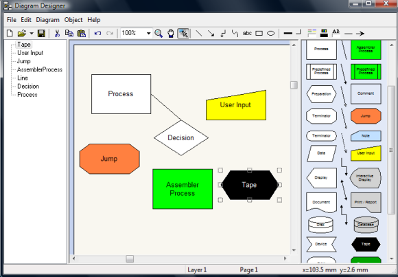 Software to create flowcharts and network diagrams in windows create flowcharts using diagram designer ccuart Choice Image