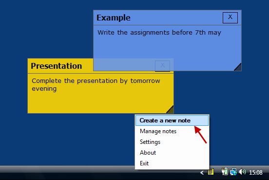 Create Sticky Notes in Desktop