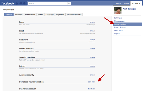 Download Facebook Profile data and information