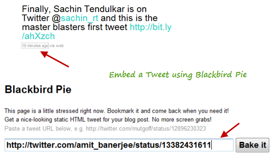 Embed tweets using Blackbird pie